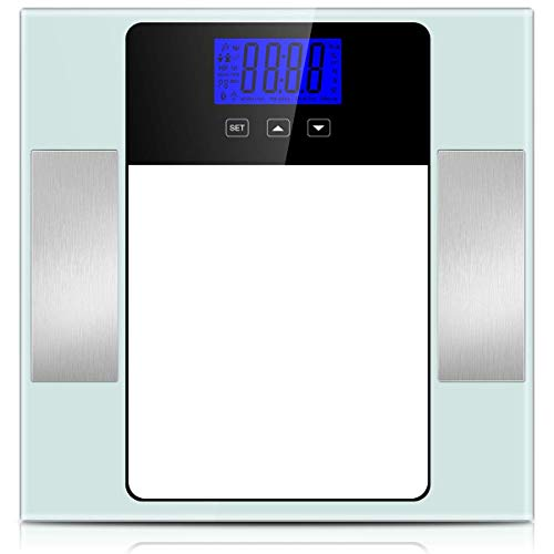 Digital Body Scale, CUSIBOX Smart Body Weight Scale Bathroom Scale with 10 Users Memory Mode, Non-Slip Large LCD Display, 6mm Tempered Glass, up to 400 Pounds