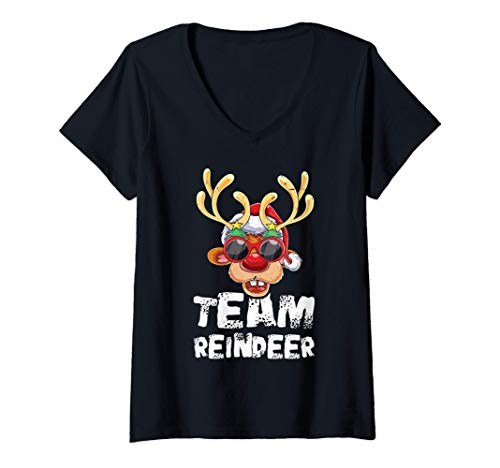 Mujer Equipo Reno Xmas Family Crew Grupo de Navidad Matching Camiseta Cuello V