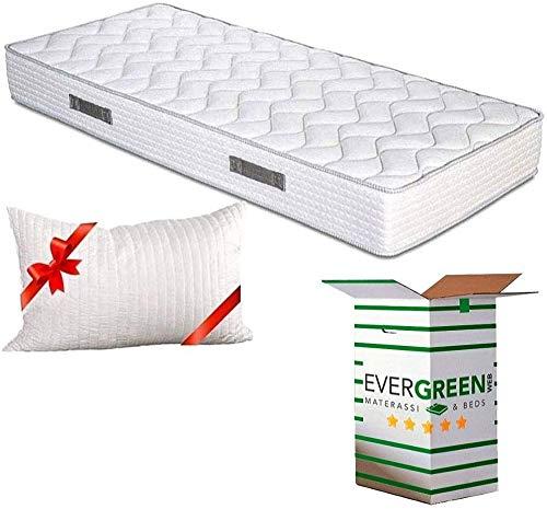 Evergreenweb - Colchón ortopédico Fashion de espuma de poliuretano o viscoelástica, 20 cm de alto, con almohadas, efecto masaje, tejido transpirable antiácaros, ideal para somier y cama ✅