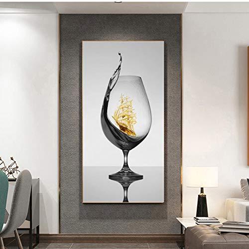Cuadro de pared de arte abstracto en lienzo Vaso de vino romántico moderno con velero para comedor Decoración para el hogar Póster Cuadros 19.6 'x39.4' (50x100cm) 1pcs Sin marco