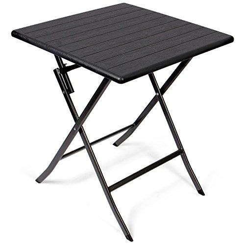 Vanage - Table d'appoint - Table de Jardin carrée avec Effets bois - Structure en acier - Pliable et ultra compacte - Parfait pour Jardin, Terrasse et Balcon