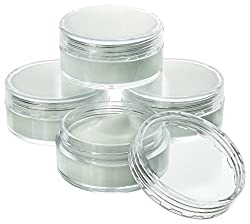 Estilo Estilo High Quality Clear Plastic Jars, Cosmetic Containers with Lids 10 Gram - 25 count