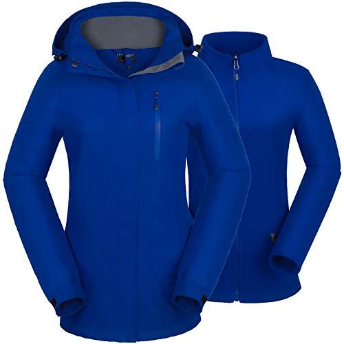 Felokont Damen Wasserdicht Winddicht 3 in 1 Skijacke Warm Atmungsaktiv Winterjacke Doppeljacke Regenjacke Funktionsjacke mit Herausnehmbarem Fleecejacke Dunkel Blau/XL