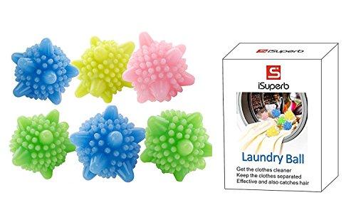iSuperb Boule de Lavage Balle à Billes Machine ecologique Colorée Solide Ensemble de 6
