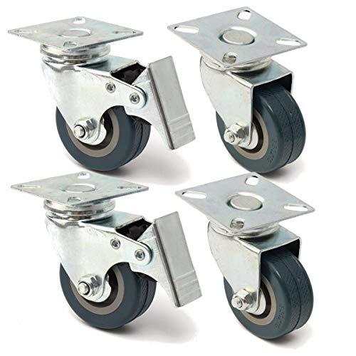 Ruedas 4pcs 20kg Ruedas giratorias universales 50 mm Ruedas de ruedas giratorias de goma de alta resistencia para la plataforma de muebles Silla de trolley Caster Freno Ruedas de robot aspirador