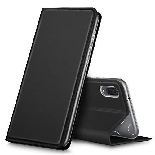 Verco Handyhülle für Y6 2019, Premium Handy Flip Cover für Huawei Y6 (2019) Hülle [integr. Magnet] Book Hülle PU Leder Tasche, Schwarz
