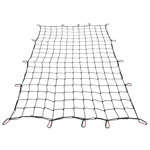 Orion Motor Tech 4x6 ft Heavy Duty Cargo Net for Pickups SUVs Vans Semis | 8x12ft Max Bungee Cord Net for Truck Bed Roof Rack Trailer More with Handmade Knotting, 16 Carabiners, Storage Bag