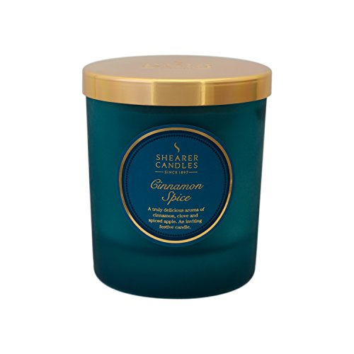 Shearer Candles Cinnamon Spice Scented Jar Candle with Gold Lid-Teal, Green, l x 7cm w x 8.4cm h