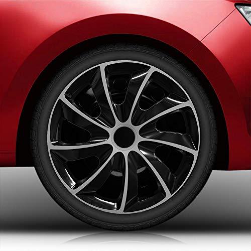 Autoteppich Stylers Bundle 14 Zoll Radkappen Nr.002 Bicolor (Schwarz-Silber) passend für Fast alle Fahrzeugtypen – universell