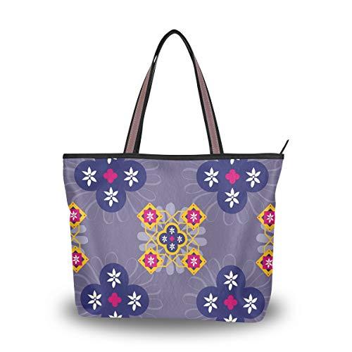 LORONA Frauen Marokko Fliesen Traditionelle Marrakesch Leinwand Schulter Handtasche Große Kapazität Einkaufstasche