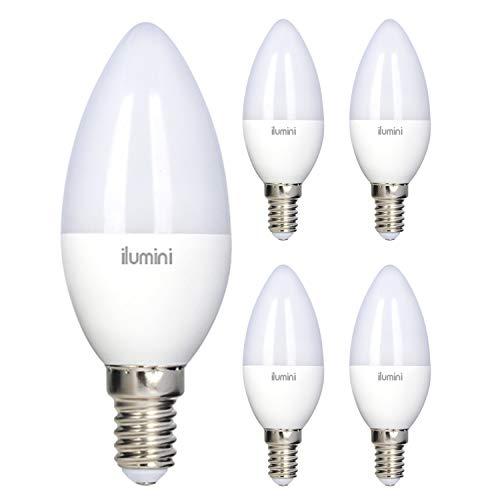 ilumini Bombillas LED C37 Vela, Casquillo E14,5W equivalente a 40w, 3000K Luz Cálida, 470 Lúmenes [Clase de eficiencia energética A+] PACK DE 5