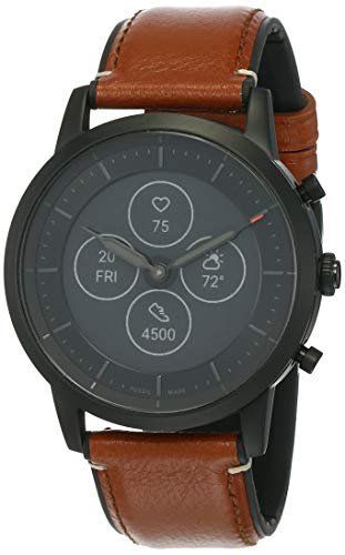 Fossil Men's 42mm Collider Stainless Steel and Leather Hybrid HR Smart Watch, Color: Black, Cognac (Model: FTW7007)