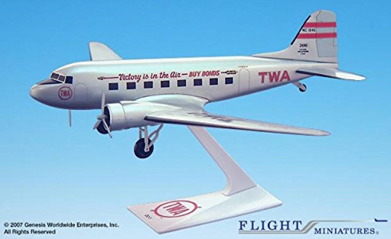Flight Miniatures TWA Trans World Airlines Victory Douglas DC3 1 100 Scale