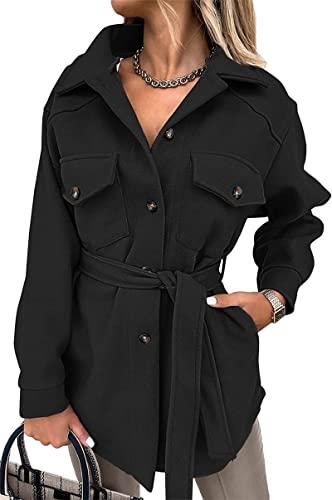 SLYZ Damas Europeas Y Americanas Otoño E Invierno Damas Abrigos De Lana De Color Puro Damas con Cinturón Temperamento Chaquetas Blusas