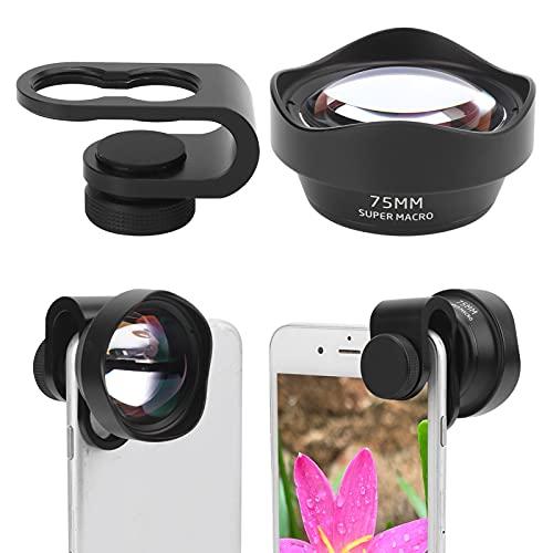 minifinker Lente Macro de la cámara del teléfono móvil de 75 mm, Conveniente para Usar Lente Macro del teléfono móvil Fácil de operar Captura de Objetos claros con una Bolsa de Almacenamiento para