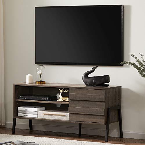 WAMPAT TV Lowboard in Holz für Fernseher bis zu 55 Zoll, TV Schrank mit Schrank und 2 Regalebenenmit, Fernsehtisch TV Möbel 110cm für Wohnzimmer, Büro Mittelalterlicher Stil