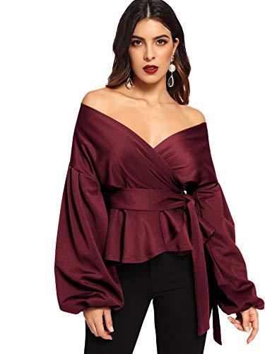 SheIn Women's Long Sleeve V Neck Ruffle Blouse Off Shoulder Tie Waist Wrap Tops X-Small Burgundy