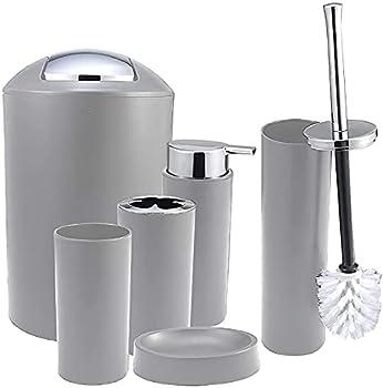 6-Pieces iMucci Grey Bathroom Accessories Set with Trash Can