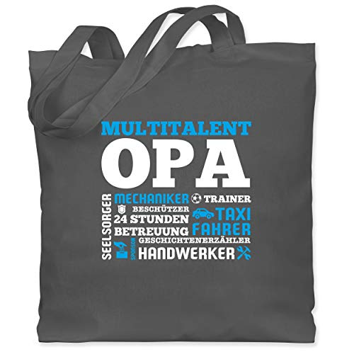 Shirtracer Opa Geschenke - Multitalent Opa - Unisize - Dunkelgrau - opa beutel - WM101 - Stoffbeutel aus Baumwolle Jutebeutel lange Henkel