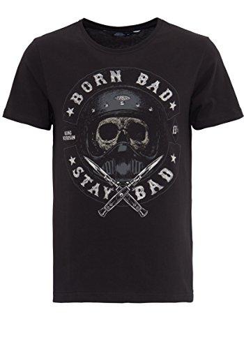 King Kerosin Herren T-Shirt Mit Skull Print Born Bad Stay Bad Rundhals Kurzarm Regular Fit