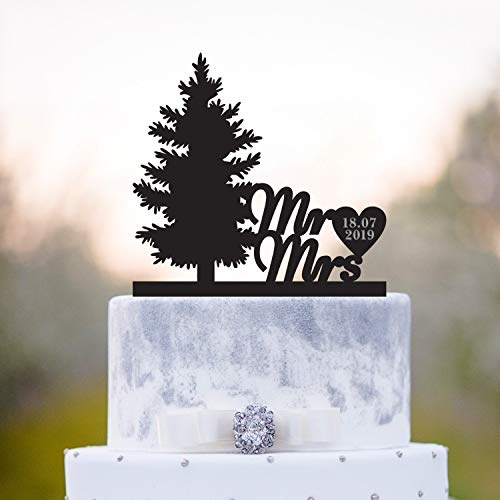 Cake Toppers Personalized Pine Tree Forest Cake Topper Date Tree Wedding Cake Topper Pine Tree Wedding Mr and Mrs Cake Topper Pine Trees Wedding Cake Topper for Men Women