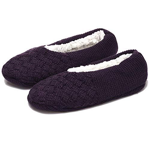 Aibrou Rutschfeste Damen Stoppersocken | Hausschuhe mit ABS Sohle, Pantoffeln Dunkelviolett 39-42