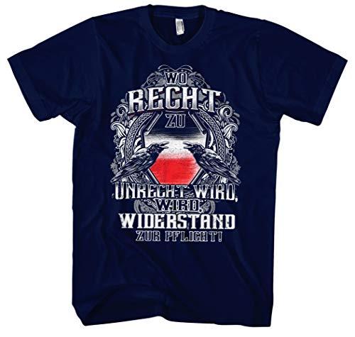 Desconocido Camiseta para Hombre, diseño con Texto en alemán Wo Recht zu Unrecht Wird Männer Azul Marino XL