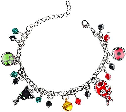 HuSang Pulseras de gato negro mariquita colección de superhéroes con pulseras de abalorios para niños Cosplay joyas ajustables (SZ 01)