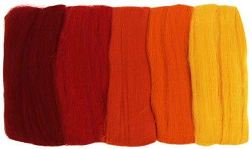RAYHER HOBBY 5365200 Filzwolle, Merinowolle, Kammzug, fein, 19 mic, 5 Farben je 10g, Rot-Töne, 100% Schafschurwolle zum Filzen, 50g