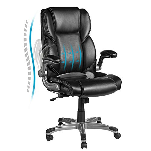 VANSPACE Leather Executive Office Chair EC02, Bonded Leather Chair High Back - Adjustable Built-in Lumbar Support and Tilt Angle Computer Desk Chair, Ergonomic Office Chair with Flip-up Armrest, Black