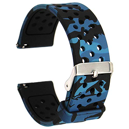 Veczom for Galaxy Watch Active Band, Galaxy Watch 3 41mm Bands, Galaxy watch 42mm band, Gear S2 Classic SM-R732/R735, 20mm Quick Release Soft Silicone Band for Samsung Gear Sport,Ticwatch 2,E Smart Watch Bands (Blue Camo, 20mm)