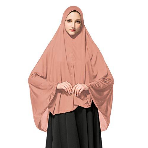 Lucky Mall Eid al-Fitr! Frauen Mode Volltonfarbe Muslim Lange Khimar, Islamische Ramadan Gebetsanzug Hijab Cap Mittlerer Osten Ninja Saudi Schal Arabisch Al-Amira Shayla Kopfimgch Chador