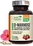 D-Mannose Capsules - 1350mg Extra Strength, Fast-Acting for Natural Urinary Health Support - Includes Cranberry, Dandelion, & Hibiscus - Made in USA - Vegan for Men & Women - 120 Capsules