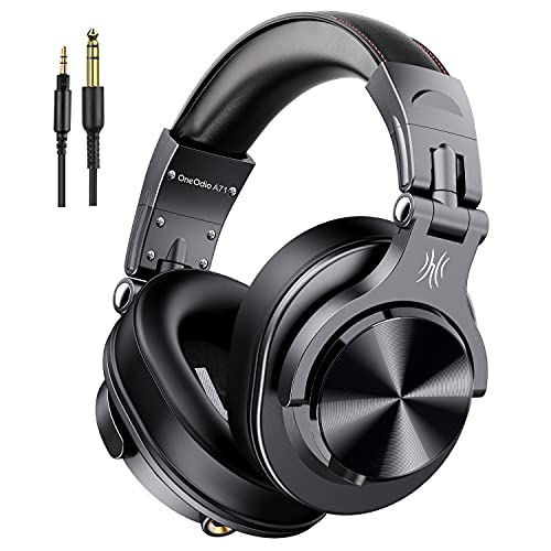 OneOdio A71 Kopfhörer Over Ear, DJ Kopfhörer mit Share Port 6,35mm & 3,5 Klinke Geschlossen HiFi Kopfhörer mit Kabel Adapter-frei, kabelgebunden Headphone Studiokopfhörer für AMP Recording Monitoring