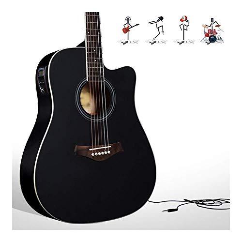 DCZKS - Guitarra eléctrica para principiantes, con cables, cuadrados y función de afinación de guitarra, 4 colores (color: negro, tamaño: 40 pulgadas) 41inch negro