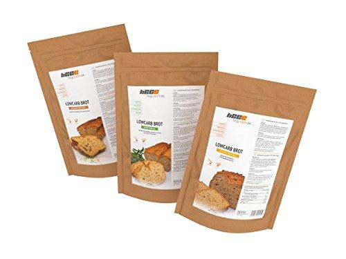 Brotbackmischung mit nur 0,8-1,4g Kohlenhydrate pro 100g | hCG-Diät geeignet | 3er Pack (3 x 250 g) Goldene Brotzeit, Sonnige Brotzeit, Mediterran