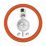 Cellfast Juego de Regulador de Gas con Manómetro Manguera Flexible 2x Abrazaderas