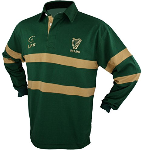 Men's Irish Harp Rugby Shirt, Green, X-Large