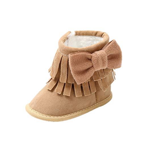 Chaussures de bébé Auxma Bébé Filles Bowknot Chaud Chaud Sole Bottes de neige d'hiver Bottes pour tout-petits Soft berceau Chaussures pour 0-6 6-12 12-18 mois (12-18 M, ZZ)