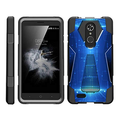 TurtleArmor | Compatible with ZTE Max XL Case | ZTE Blade Max 3 Case | ZTE Max Blue Case [Dynamic Shell] Duo Protection Hybrid Case Impact Rubber Cover Hard Kickstand - Blue Technology