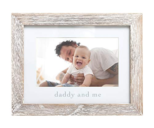 Pearhead Daddy & Me Keepsake Rustic Picture Frame, Father's Day New Dad Gifts from Baby, Distressed