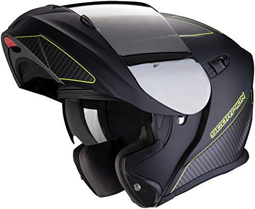 Scorpion Motorradhelm EXO-920 FLUX Matte Black-Neon yellow, Schwarz/Gelb, M, 92-297-157-04