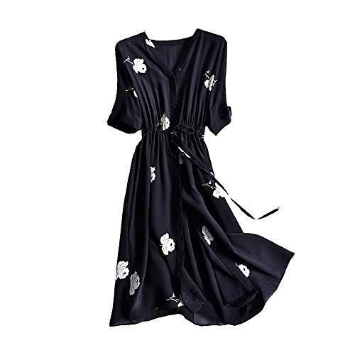 Bademode Sommer langes Temperament Seidenrock V-Ausschnitt Print Kleid Bikinis (Farbe : Schwarz, Size : XL)