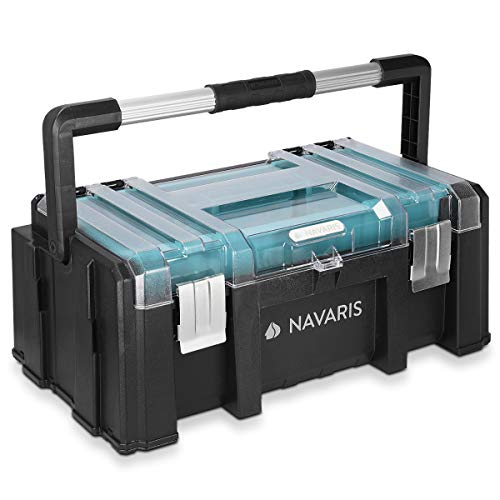 Navaris Cassetta degli attrezzi con scomparti parti piccole - Valigetta lavoro chiusure acciaio manico lungo in alluminio - scomparto viti tasselli