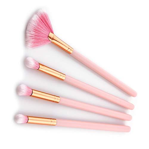 KDBHM Pinceau de Maquillage Or Rose Pinceaux De Maquillage Ensemble De Pinceaux De Maquillage Pro Fondation Poudre De Blusher Contour Beauté Cosmétiques Maquillage Pinceau Kit Outils,Ensemble 4pcs
