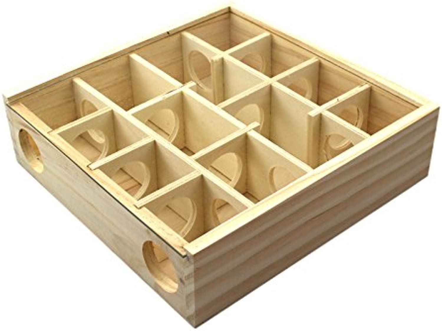 Stock Show 1Pc Wooden Maze Tunnel Toy with Glass Glass Glass