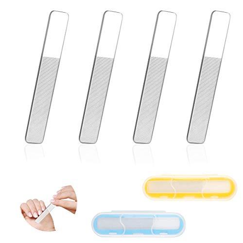 4 Stück Glasnagelfeile Professionelle Nagelfeilen Polierfeilen für Maniküre Pediküre Naturnägel Nagelpflege, Nano Glas Nagelpolierer für Baby Kinder Schwanger