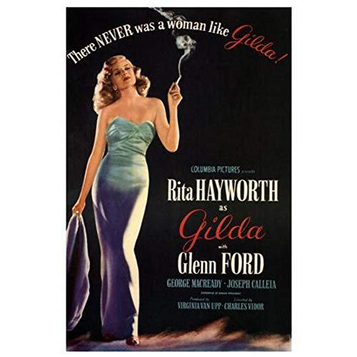 sjkkad Gilda Darsteller Rita Hayworth Filmplakat Dekorative Malerei Wandkunst Poster Malerei Druck Wohnzimmer Wohnkultur -50x70cm Kein Rahmen
