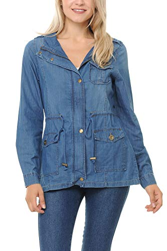 Auliné Collection Womens Chambray Denim Military Lightweight Anorak Shirt Jacket - Light Blue Large