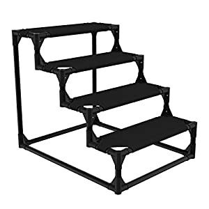 Veehoo Sturdy Pet Steps – Pet Stairs for Small Dogs and Cats, Doggie, Puppy and Older Cats Step for High Bed Couch, Black